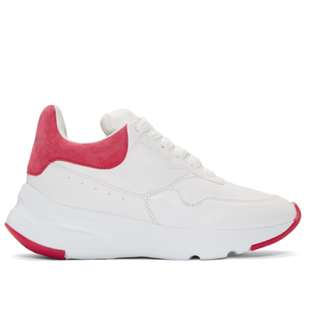 Alexander McQueen White & Pink Platform Running Sneakers