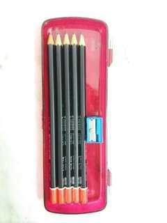 Stabilo pencils in case + sharpener