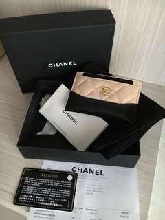 Chanel Gabriele Cardholder Beige-Black #24  ( complete with box , db & ori rec )