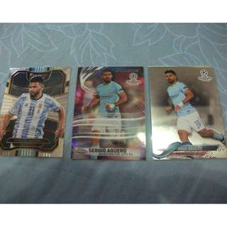 Sergio Aguero Panini/Topps trading cards for sale/trade (Lot of 3 cards)