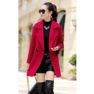 Red Autumn Winter Thick Jacket Warm Long Trench Parka Coat Overcoat Outwear