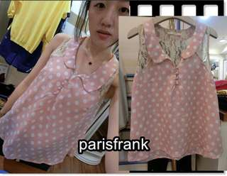 🚚 parisfrank~~品牌 dazzlin 日本連線購入 粉紅色點點水玉 蕾絲拼接雪紡削肩背心(S號)