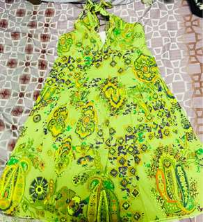 Yellow green floral dress