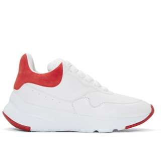 Alexander McQueen White & Red Platform Running Sneakers