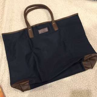 Urban Research Navy and Brown Overnight Tote