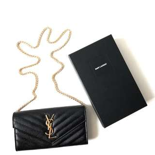 GOOD DEAL! NEW YSL Wallet 19 cm Black Caviar GHW 2017 with chain complete with yearcard, dustbag, & box. IDR 10.750.000
