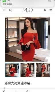 🚚 時尚 落肩大荷葉邊洋裝 小禮服 正紅色