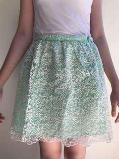 ZARA mint lace skirt