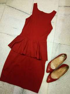 Brick red icons dress