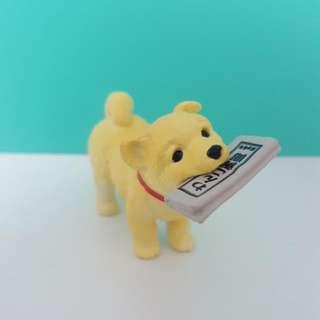 Cute Shiba Inu Dog Puppy Biting Newspapers Mini Figurine Display
