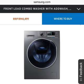 📮Samsung Washing Machines Technology 10.5kg Washer / 6kg Dryer