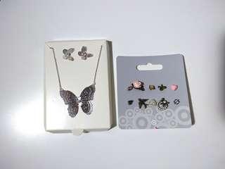 JEWELLERY: Unmatched earrings, butterfly set