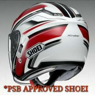 SHOEI J-CRUISE RED  PSB APPROVED