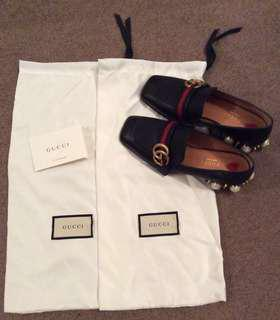 Gucci Peyton Pearl Mid Loafers Black New 35.5