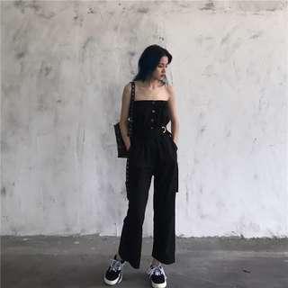 氣質抹胸連體褲女夏季2018時尚腰帶收腰單排扣九分直筒褲闊腿褲