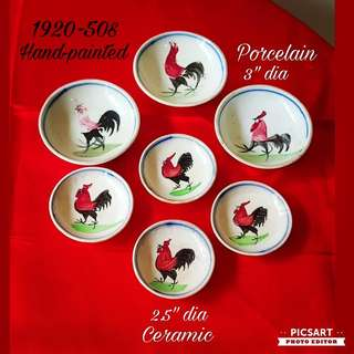 1920-50s Vintage Porcelain ($18) and Ceramic ($25) Hand-painted Chicken Motif Sauce Dishes. Every Piece is Different! Good Condition, no chip no crack. Refer to photos for detail and size. 7pcs for $68 Offer! Sms 96337309 for Fast Deal.