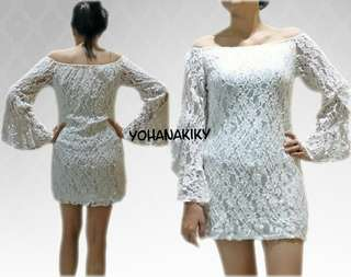 Free ONGKIR! White Dress Sabrina Prewed Lace