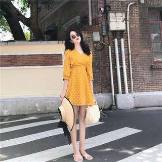 Summer Yellow Polka Dot Swing Dress