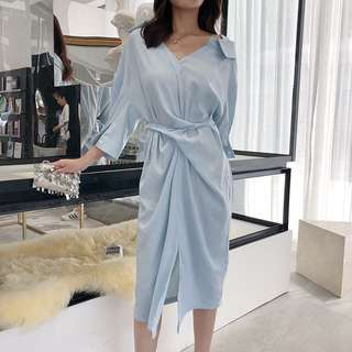 Elegant V-collar Wrap Dress