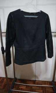 Ann Taylor top with leatherette sleeves