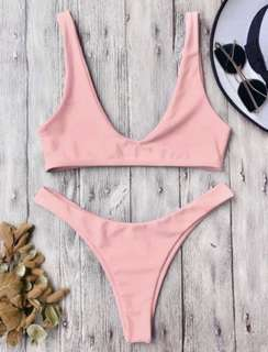 High Cut Bikini Set  Pastel Pink