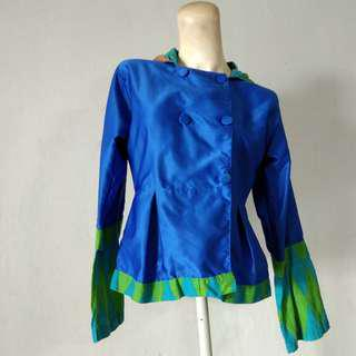 Blouse biru electric satin mix songket