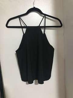Shopcopper Black cropped halter top