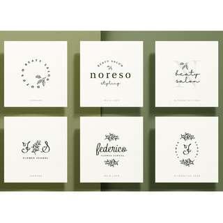 Premade Botanical Logo · Simple Elegant Logo · Logo Design Service · Floral Logo · Farmhouse Style Logo