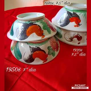 1920-70s Vintage Porcelain Hand-made & Hand-painted Rooster or Cockeral Motif Bowls. Good Condition, no chip no crack. Refer detail below. All 4pcs for $38 Offer! Sms 96337309 for Fast Deal.