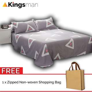 [Kingsman] Triangle 3 in 1 Cotton Bed Sheet Cover Set Queen Size FOC Woven Bag