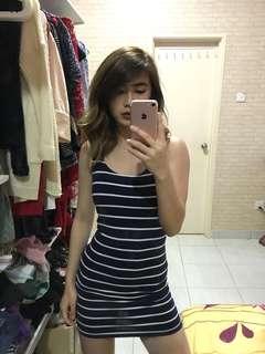 Blue & White Striped Body-con Dress