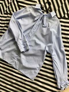 White blouse with blue strips