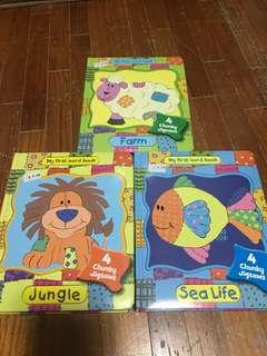 Chunky jigsaw puzzle books x 3