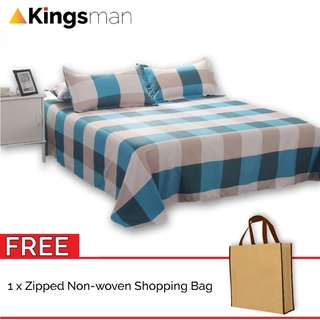 [Kingsman] Box 3 in 1 Cotton Bed Sheet Cover Set Queen Size FOC Woven Bag