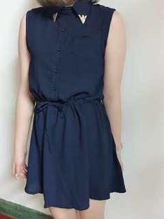 🚚 無袖深藍小洋裝