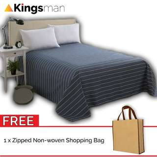 [Kingsman] Line 3 in 1 Cotton Bed Sheet Cover Set Queen Size FOC Woven Bag