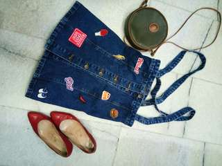Rok jeans kancing patches M
