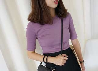 ULZZANG BASIC PURPLE TOP
