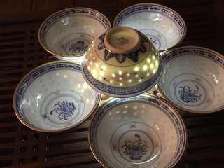"Vintage Porcelain small bowls with Gold Rim采花芯米通金边3.5""小碗"