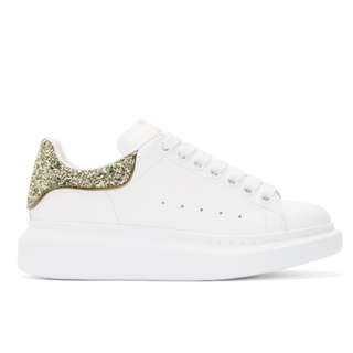 Alexander McQueen Exclusive White & Gold Glitter Oversized Sneakers
