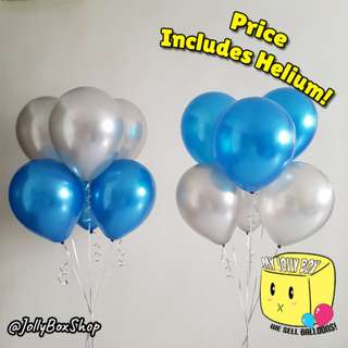 Jun19 | 12 Normal Balloons with Helium (Dark Blue & Silver Theme) | Perfect for Birthday Party, Weddings, Proposals, Corporate Events