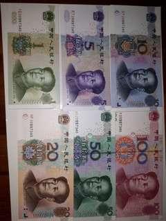 RMB 1, 5, 10, 50 & 100 - same number/ 10 runs @10 sets