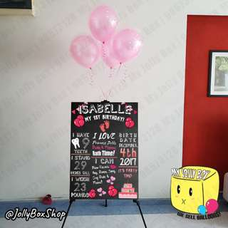 Jun19| A1 Foam Board Display with Easel (Rental) and 4 Balloon in Balloon (Helium)