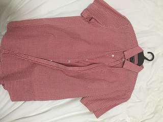 Topman Red Checkered Polo