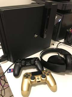 PS4 Pro with Camera, wireless headphone and 2 controller