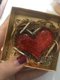 Red love heart shape neklace