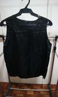 Plain black silk top
