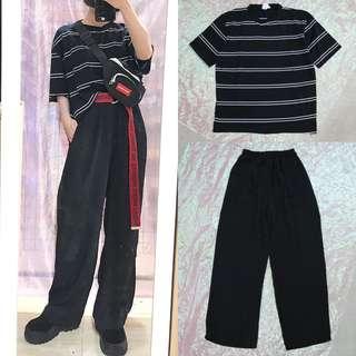 🚚 橫條紋配色造型中性短t/直筒休閒中性寬褲/簡約腰包中性側背包/英文造型中性帆布皮帶