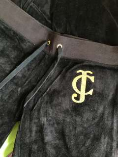 REAL and new 絲絨 juicy couture 長袖 tracksuit 套裝 外套S 褲XS 黑色