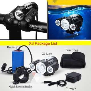 DEROACE T6 high X3 mountain bicycle/scooter lights night riding equipment high beam low beam lights